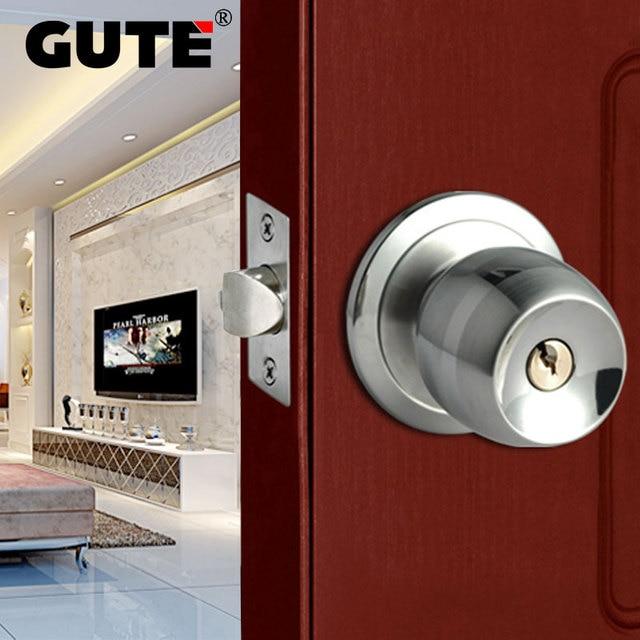 GUTE Door Lock Stainless Steel Ball Shape Style Door Lock Bedroom Room  Bathroom Lock With Knob