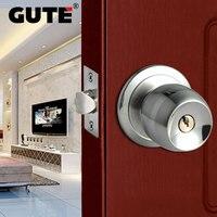 GUTE Door Lock Stainless Steel Ball Shape Style Door Lock Bedroom Room Bathroom Lock With Knob Lock Interior Door Handle Lockset