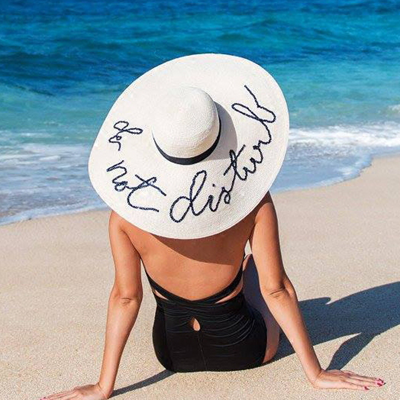 Ggomu New Summer Do Not Disturb Sequin Letter Wide Brim
