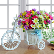 Plastic Vase New White Tricycle Bike Design Flower Basket Storage Container for Party Wedding Home Desktop Decoration A $