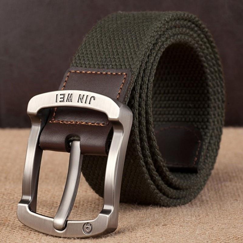 Военный ремень с пряжкой для спорта на открытом воздухе, тактический ремень для мужчин и женщин, высококачественные холщовые ремни для джинсов, мужские роскошные повседневные ремни - Цвет: Army Green