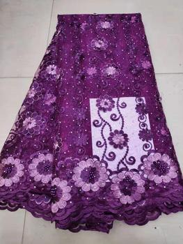 Hot Selling African Tulle Lace Fabric 2019 High Quality Best Purple Nigerian Lace Fabric For Embroidery French Lace Fabric (7-19