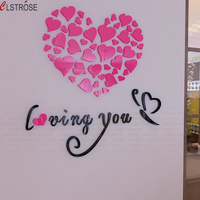 3 Colors Loving You English Letter 3D Acrylic Love Heart Wall Stickers Decorate Living Room Sofa