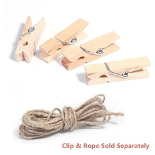 10 PCs 35mm vintage Natural Wooden Clips Paper Photo Clips Clothespin rope 3m Craft Decoration Clips Pegs note memo holder DIY