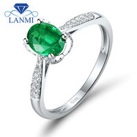 Oval 5x7mm Natural Emerald 18K White Gold Vintage Engagement Ring Promise Ring WU260