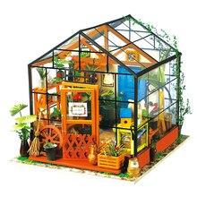 DIY E ドールハウスミニチュアドールハウス家具木製手作りハウスパズルおもちゃギフト子供のためのキャシーの家 DG104