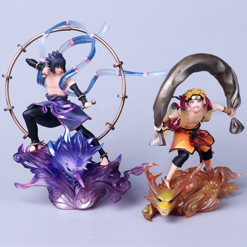 Anime Naruto Shippuden Uzumaki Naruto Fujin / Uchiha Sasuke Raijin PVC Action Figure Collection Model Kids Toys Doll 18CM anime naruto pvc action figure toys q version naruto figurine full set model collection free shipping