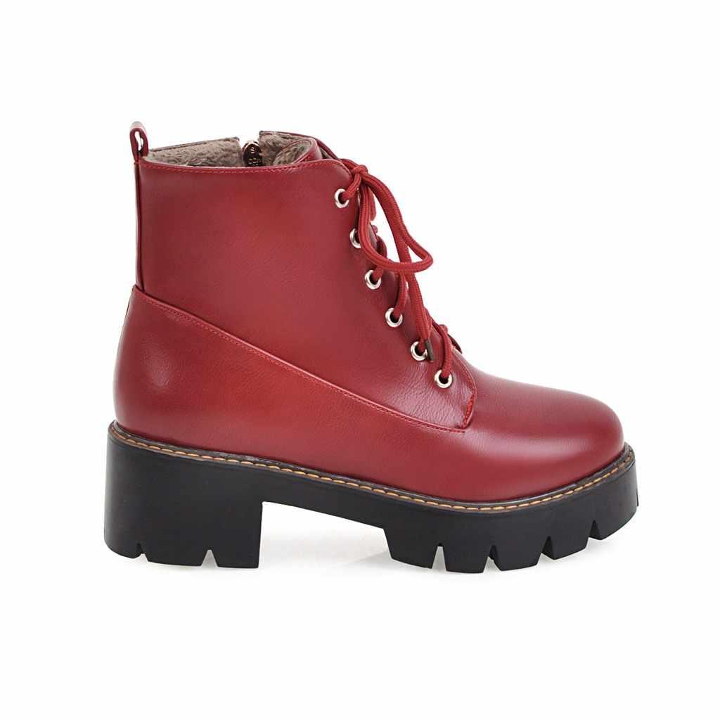Artı Boyutu Kadın Botları Pu Deri Kalın Topuk yarım çizmeler Moda Platformu Fermuar Bahar Kış Bayanlar Ayakkabı Siyah Kahverengi Şarap Kırmızı