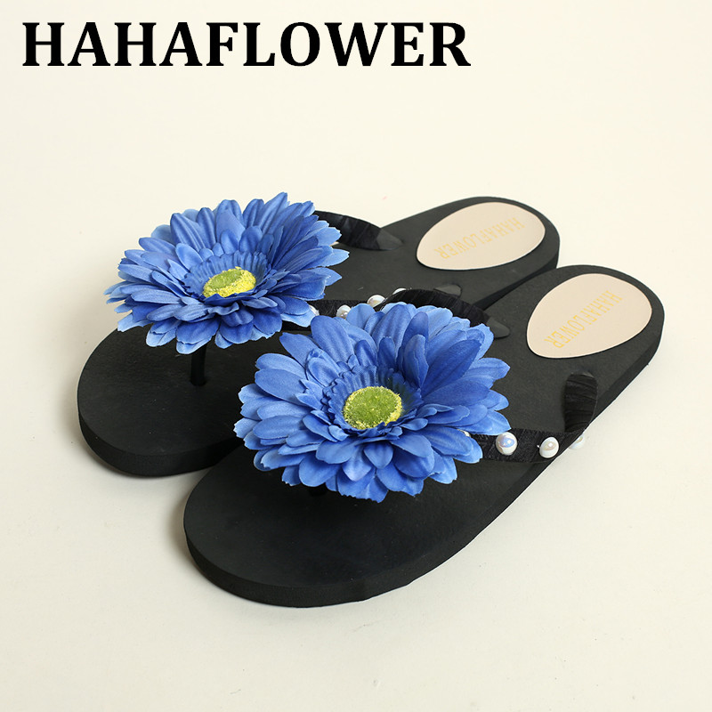 HAHAFLOWER woman shoes flat beach slippers shoes mules 2017 flower flip flops bohemia thong slippers floral sandals 35-44 hahaflower summer women slippers flower slipper beach thong slipper mules clogs garden shoes woman flats jelly sandals flip flop