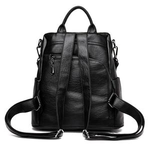 Image 3 - Fashion 2018 Women Backpack Youth Leather Vintage Backpacks for Teenage Girls Female School Bag Bagpack mochila sac a dos