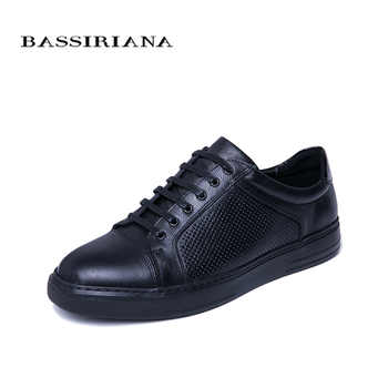 BASSIRIANA 2019 new spring and autumn men's casual shoes natural leather men's shoes comfortable breathable color black blue - DISCOUNT ITEM  30% OFF All Category