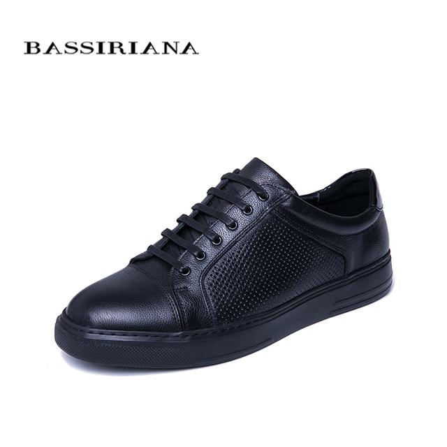 BASSIRIANA/Новинка 2019 года, весенне-осенняя мужская повседневная обувь из натуральной кожи, удобная дышащая обувь черного и синего цвета
