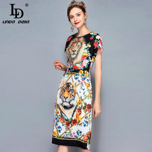 Women's Short Sleeve Elegant Vintage Animal Floral Printed Retro Dress