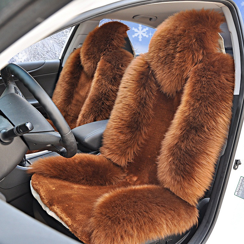 Universal Sheep Skin Woolen Fur Car Seat Cover Winter Woman Purple Beige Red Wine Full Set for Suv Truck 3pcs/set