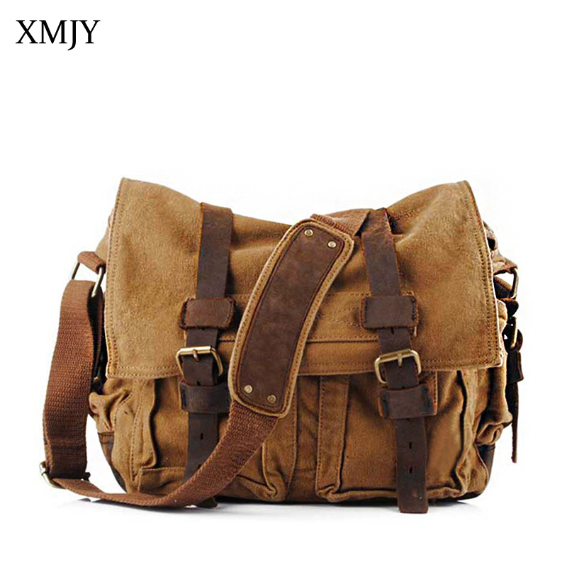 XMJY Men's Messenger Bag Military Style Canvas Leather Crossbody Shoulder Bag Fashion Vintage High Quality Canvas Travel Bags casual canvas women men satchel shoulder bags high quality crossbody messenger bags men military travel bag business leisure bag