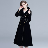 Vintage Black Solid Color 2018 New Women Velvet Long Autumn Winter Double breasted Retro Loose Solid Trench Coat