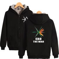 BTS K POP EXO New Album THE WAR Thicker Hoodie Sweatshirt Zipper Popular Fashion Thicker Sweatshirt Winter Warm Clothes
