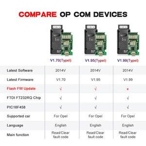 Image 2 - For Opel OP COM V1.95/V1.70 2014V PIC18F458 FTDI FT232RQ Be Flash Update OBDII OBD2 Diagnostic Scanner Cable Op com OPCOM V1.99