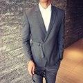 Designer de fivela Blazer Masculina 2016 New Outono Inverno Cinzento Azul Dos Homens Blazer Casual Slim Fit Mais Recente Projeto Casaco Cor Sólida