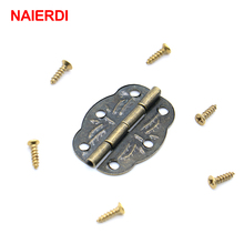 20pcs NAIERDI Bronze Hinges Decoration Jewelry Box Hinge With Screw For Vintage Door Cabinet Drawer Furniture Fittings Hardware