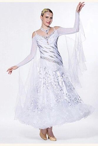 eleganta pielāgot balto lapsu rikšotāju valša tango salsas sacensību balles deju kleitu dāmu meitenēm
