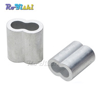 100pcs/pack 6mm Aluminum Cable Crimps Sleeves Rope Clip Fittings Loop Sleeve