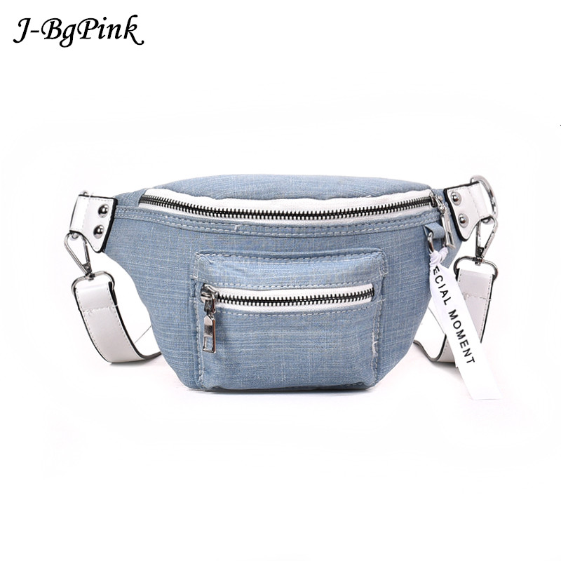J-Bg Pink 2018 Fashion Denim Waist Bag Female Fanny Packs Lady's Belt Bags Women Travel Chest Bag Hight Quality Black