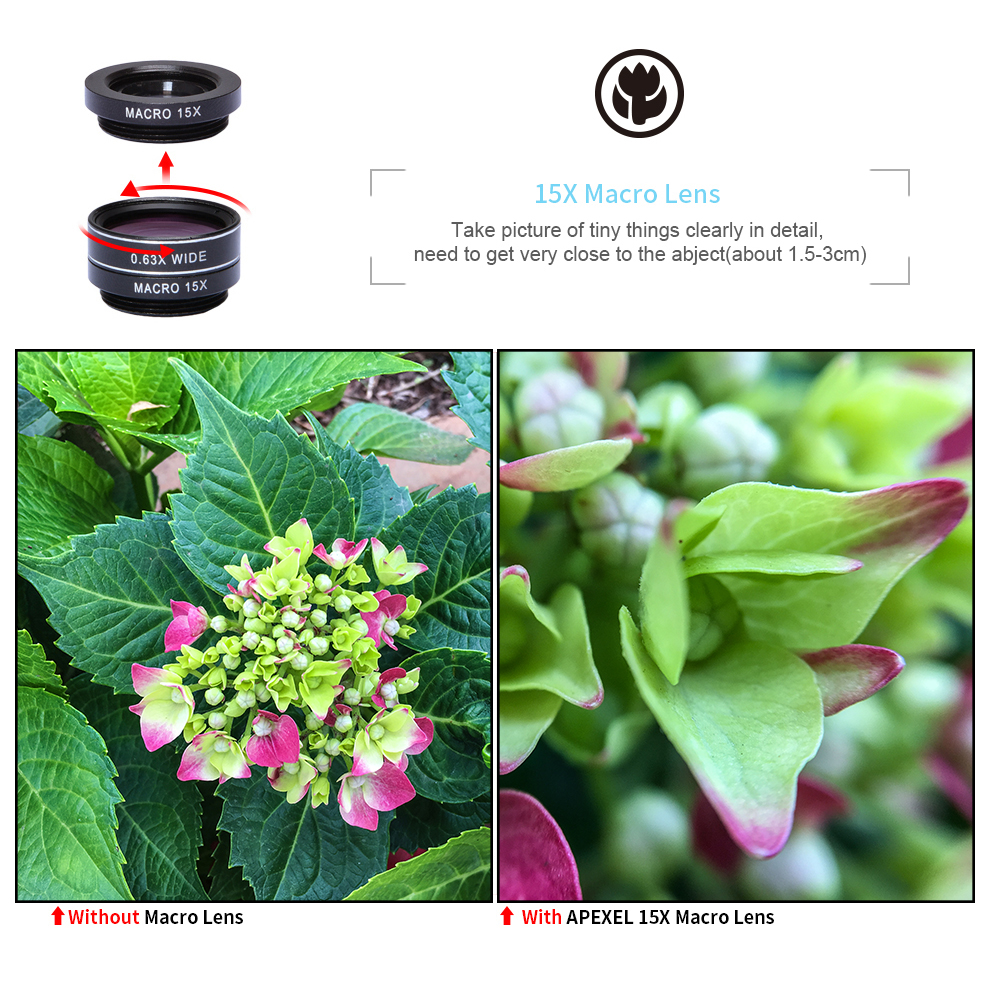 APEXEL Phone Camera Lens Kit Fish Eye Wide Angle/macro Lens CPL Kaleidoscope and 2X telephoto zoom Lens 7in1 for iPhone SAMSUNG 5