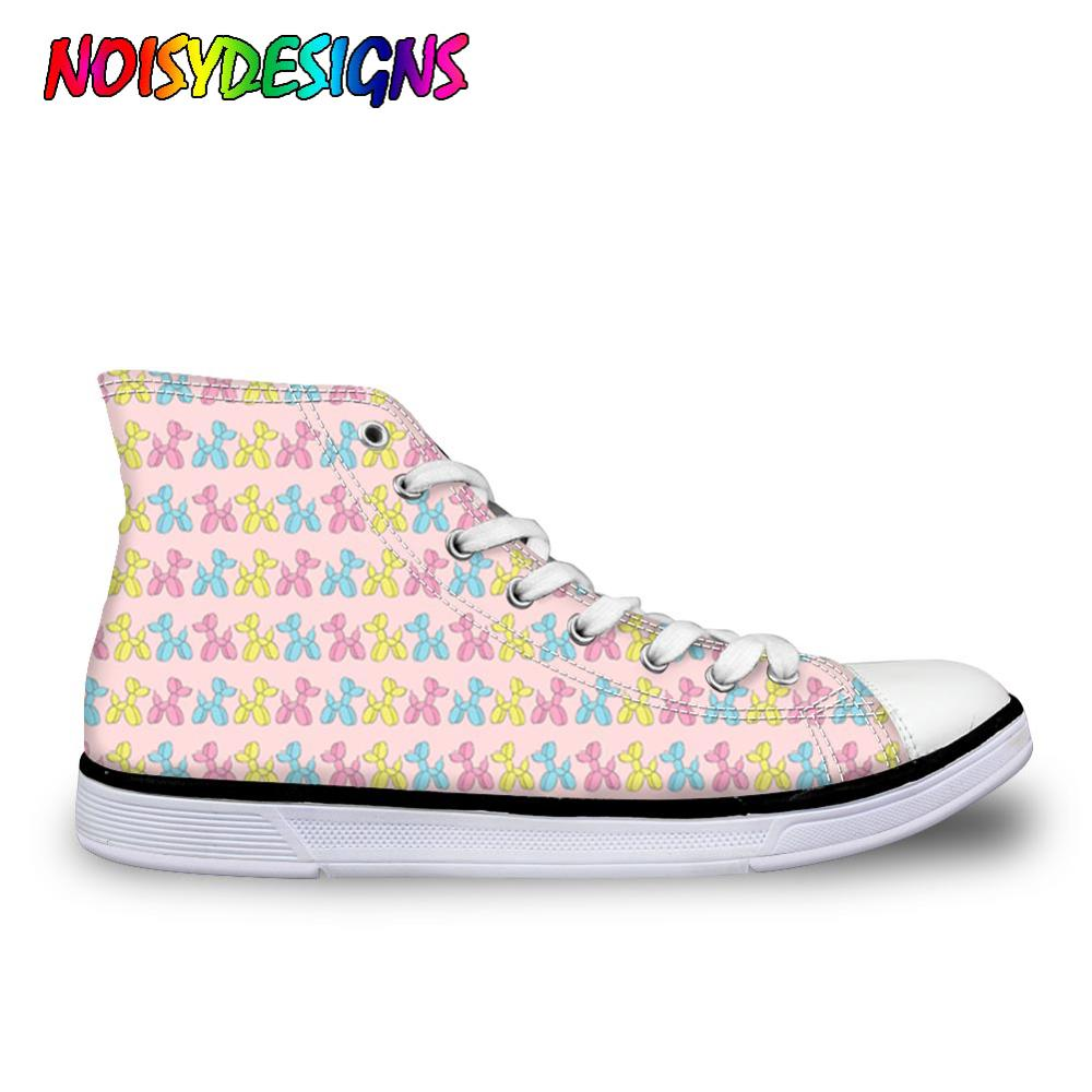 NOISYDESIGNS Women Designer Sneakers Balloon Dogs Pattern Breathable Shoes Flats Girls Female Cartoon Print Vulcanize Shoes