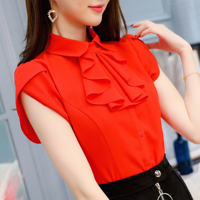 Women Summer Blouse Office Lady Wild Temperament Shirt Fashion Slim Casual Chiffon Bottoming Multi Color Diverse Shirt Clothes