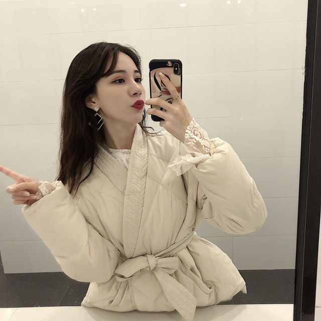 Women Winter Solid Sashes Coat Thick High Quality Students Outwear 24