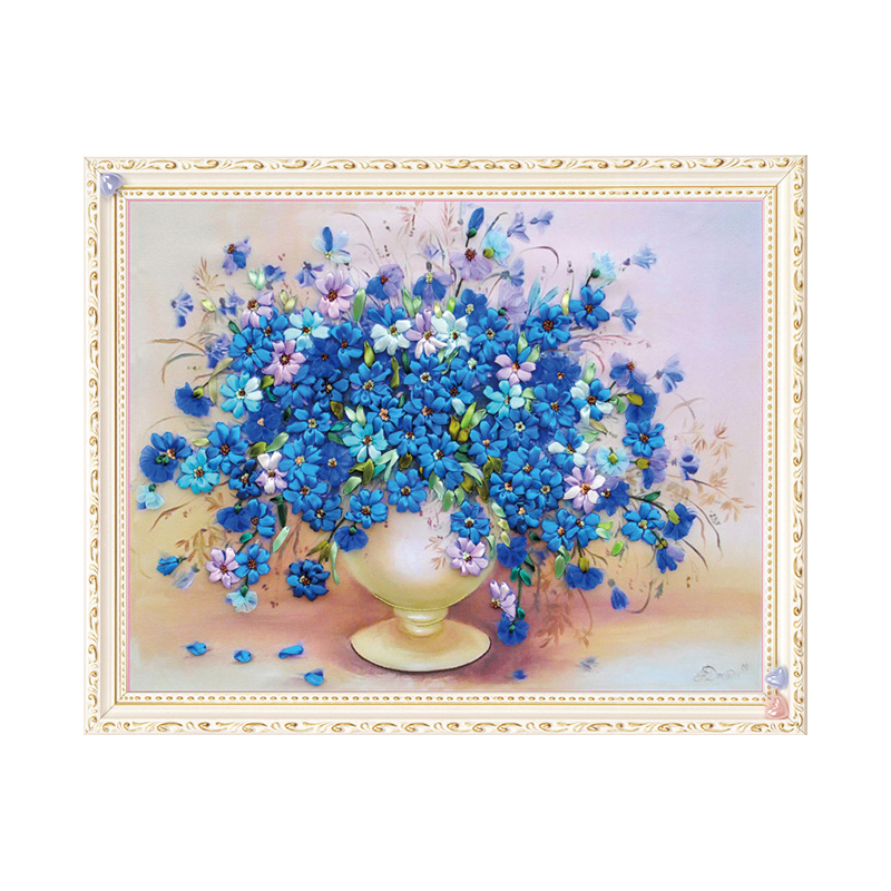 DIY Ribbon Embroidery Peacock Painting Kit Stamped Cross Stitch 50 x 65cm