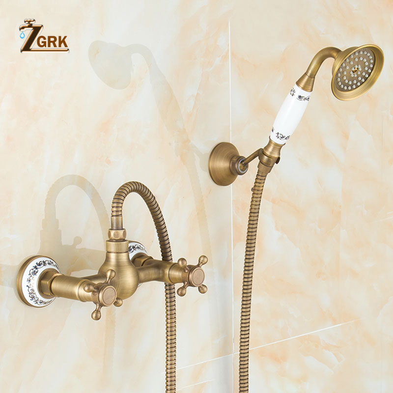 ZGRK Bathtub Faucets Antique Brass Bathroom Faucet Wall Mounted Bath Faucet With Hand Shower Antique Bronze Bath Shower Set bathtub faucets antique brass bath rain shower faucet head and handheld shower faucet 2 handel bathroom wall mounted tap lj10119