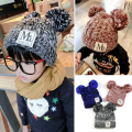 2016 New Warm Winter Hats Caps For Children Hat Girl Warm Cap Baby Knitted Hat For Kids Double Ball Skullies Beanies Accessorie
