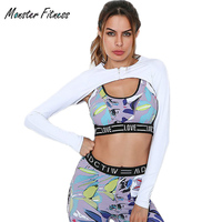 Monster Fitness 2018 Women White Rash Guards GYM Running Sports Hoody Shirts Long Sleeve Crop Hooded