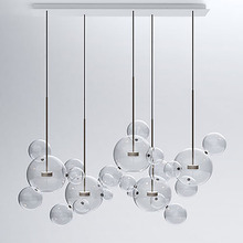 Modern Bolle Pendant Lamp Glass Lampshade Bubble Pendant Light For Parlor Iron pendente industrial lustre industriel post modern bolle lamp led pendant light clear glass bubble ball droplight fixtures indoor lighting lustre luminaria hang lamp