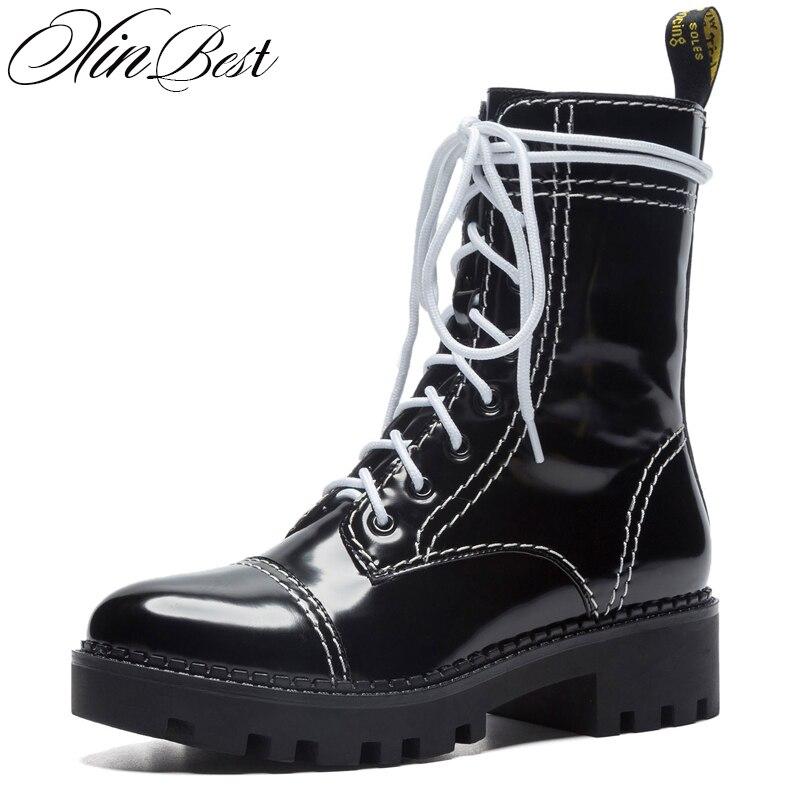 863b9f8b2 De Genuino Negro Niña Zapatos Punta Tobillo Cuadrado Xinbest Negro Atado Botas  Para Med Cuero Redonda ...