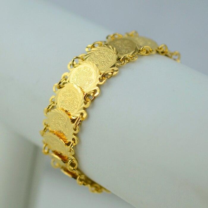 Anniyo 20CM Islam Coin Bracelet Women Gold Color Bangle Wholesale