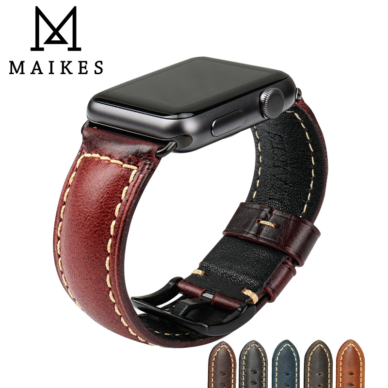 MAIKES Vintage Greasedleather Watchband For Apple Watch 42mm 38mm iWatch Red Oil Wax Leather Watch Strap For Apple Watch Band vintage red brown crazy horse genuine leather watchband for apple watch 38mm 42mm women men replacement band strap for iwatch