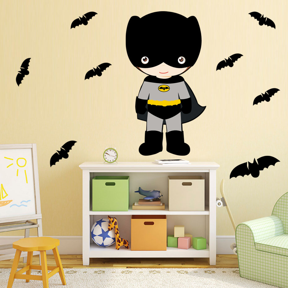 8 pcs Bat And Superhero Colorful Wall Stickers For Kids Rooms Nursery Batman Wall Art Decals Removable Wallpaper Home Decoration