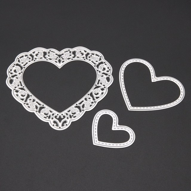 3pcs/set Cutting Dies Love Heart Metal Cutting Dies Stencils Set For DIY Scrapbooking Photo Album Embossing Decorative Craft