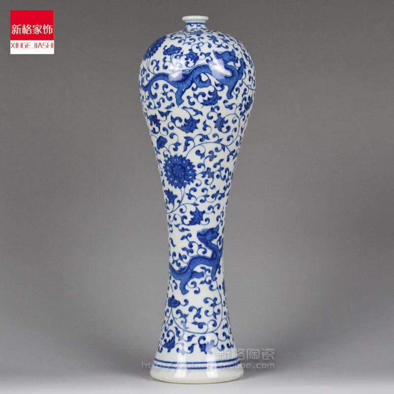Jingdezhen expédition céramique spéciale avec dragon bleu et blanc bouteille de beauté de chinois antique Ming et Qing meubles et orn
