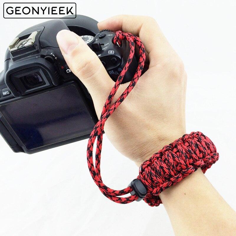 Le plus récent bracelet d'appareil-photo numérique bracelet de poignet d'appareil-photo poignée de main Paracord bracelet tressé pour Nikon Canon Sony Pentax Panasonic DSLR