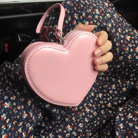 1PC pu coin Purse Card Key Mini Purse Pouch heart shaped Bag Small Zipper Coin Purse Card Holder Wallet pink red Colors