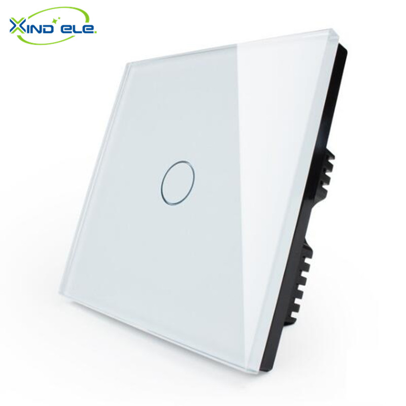 Free Shipping XIND ELE Touch Switch White Crystal Glass Switch Panel, Wall Light Touch Screen Switch XDTH01W xind ele crystal glass panel smart home touch light wall switch with remote controller interruptor de luz xdth03b blr 8
