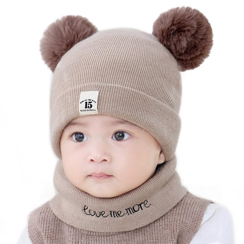 2 Teile/satz Nette Pompom Winter Baby Hut Schal Brief Drucke Jungen Mädchen Caps O Ring Schals Neugeborenen Dual Ball Gestrickte Warme Beanie