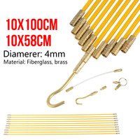 10pcs 4mm Fiberglass Running Wire Cable Running Rods Wires Fish Pulling Wire Holder Electrical Fish Tape Pull & Push Kit