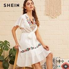 948d3ca9a019 SHEIN Boho kwiat biały haftowane falbanką Hem wiązane lato Midi sukienka  kobiety głębokie V szyi dopasowanie i flary Sexy elegan.