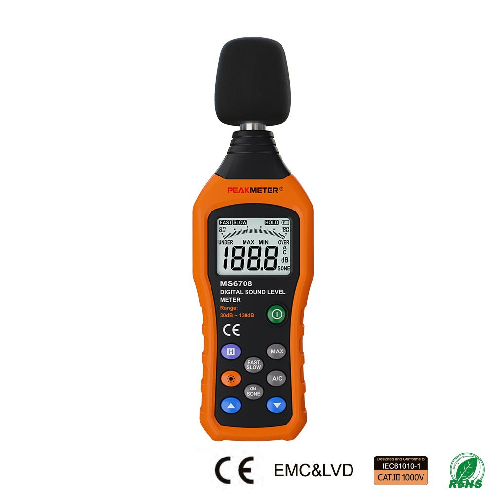 купить MS6708 LCD Digital Audio Decibel Sound Noise Level Meter dB Meter Measuring Logger Tester 30 dB to 130 dB по цене 4354.53 рублей