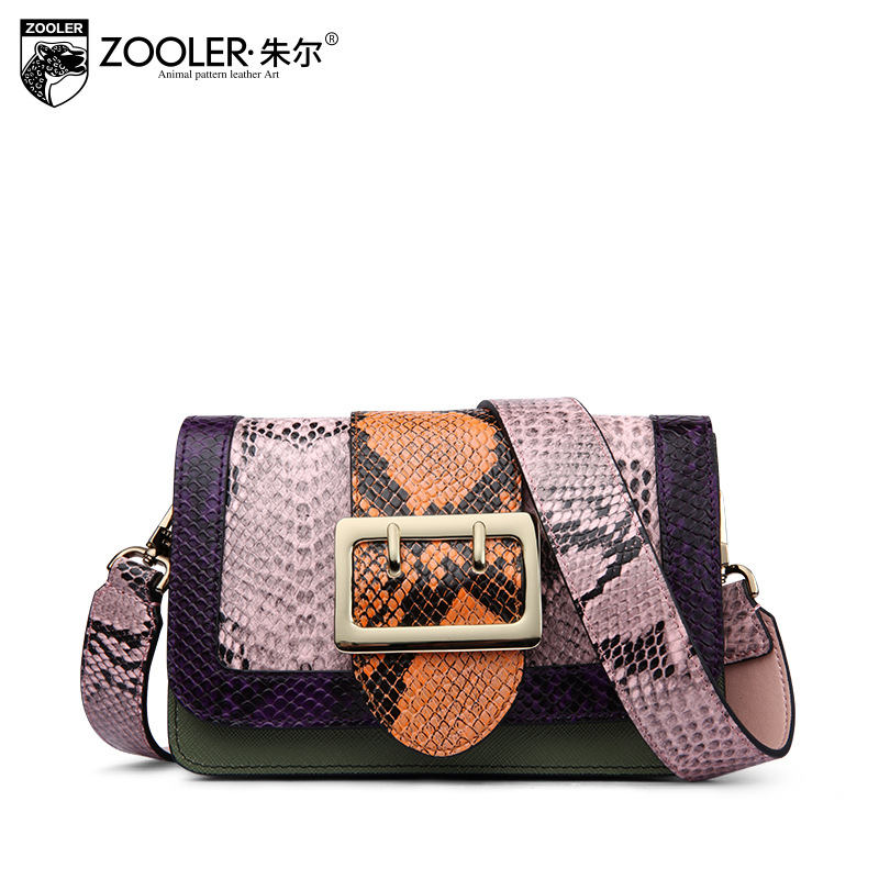 ZOOLER Hit Color Female Bag 2017 New Mini Flap Fashion Serpentine Pattern Shoulder Bag Women Genuine Leather Crossbody Bags